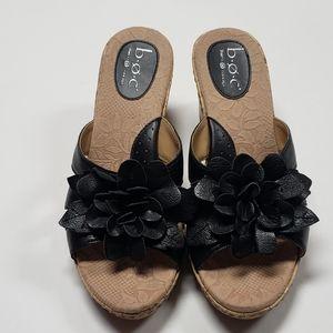 Born BOC Black Leather Platform Sandals SZ 9